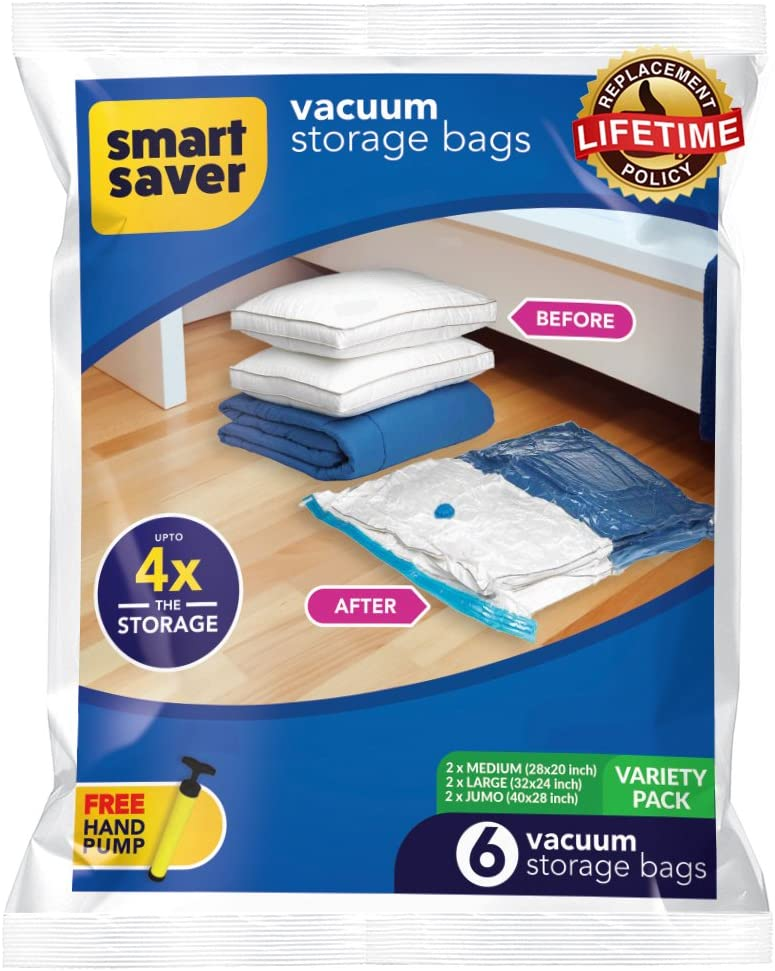 Smart Saver Plastic 6 Vacuum Storage Bags Variety Pack 2 x Medium, 2 x Large, 2 x Jumbo Different Size Space Bag, with Hand Pump for Travel