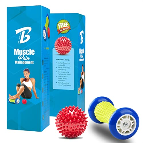 Foot Massager Roller & Spiky Balls-Muscle Roller Stick - Wrists and Forearms Exercise Roller for Plantar Fasciitis,Arm pain-Heel & Foot Arch Pain Relief
