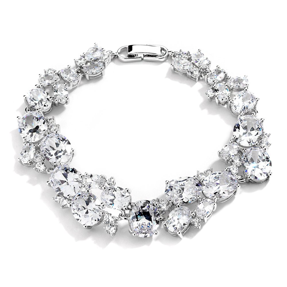 Mariell Bridal & Wedding Bracelet with Multi-Shaped Cubic Zirconia, Perfect for Brides or Mother of Bride