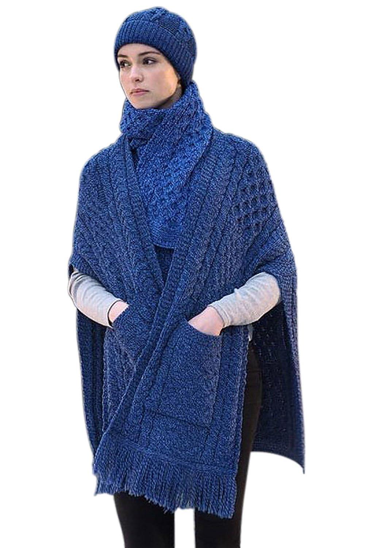 bluee 100% Irish Merino Wool Ladies Pocket Shawl by West End Knitwear