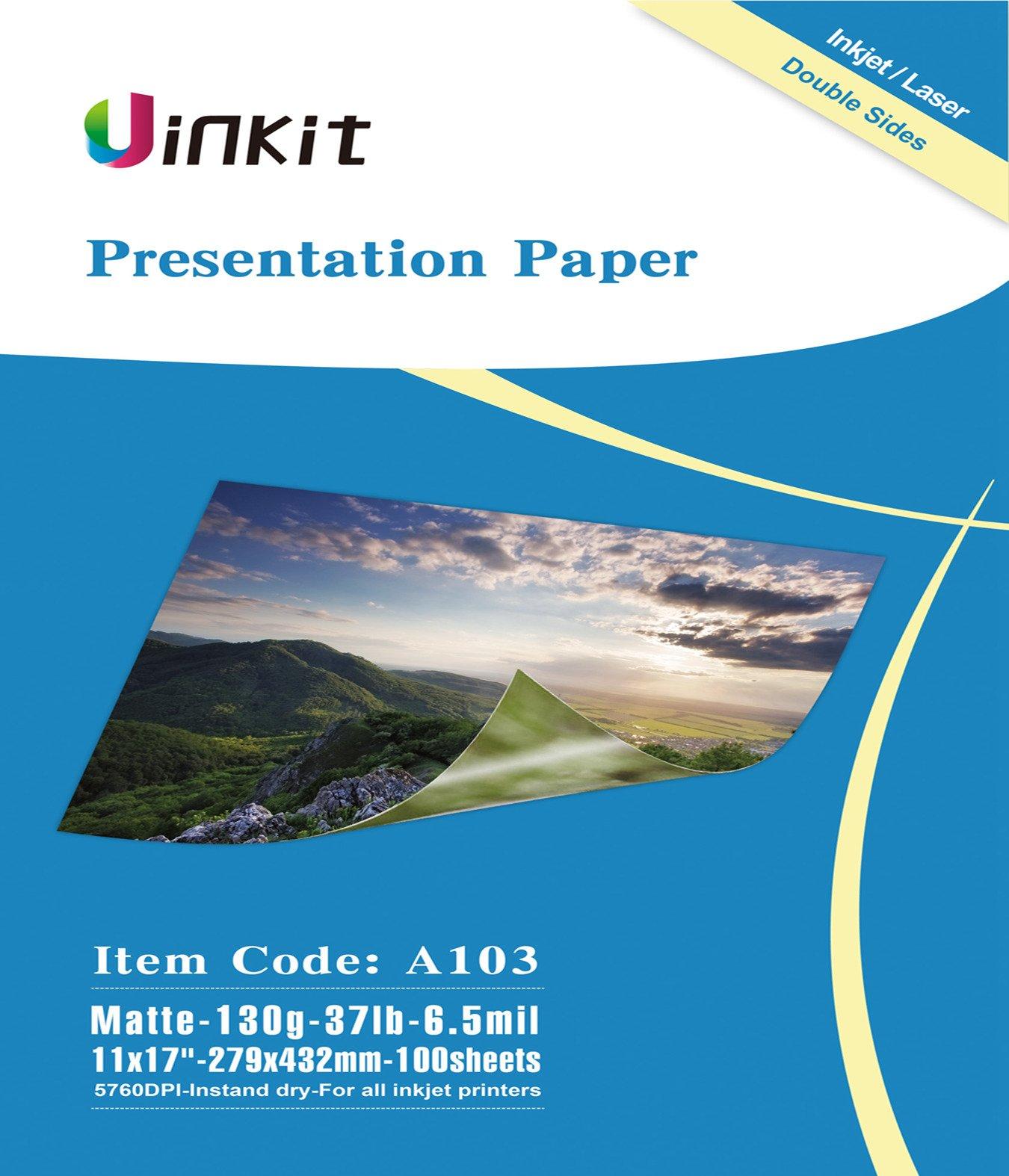 Presentation Paper Matte 11x17 - 100Sheets Uinkit Double Side Matt Paper 6.5 Mil 130Gsm For laser and Inkjet Printer