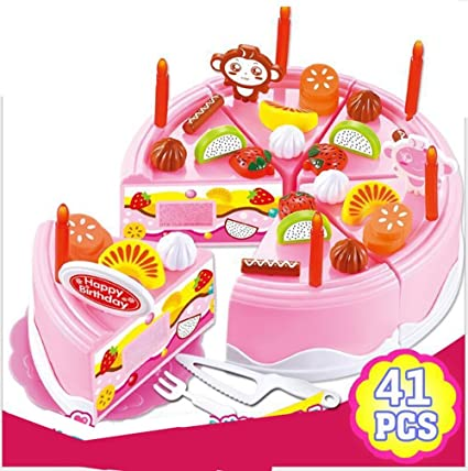 Elloapic Pretend Play Singing Birthday Cake With Songs Light DIY Cutting Party