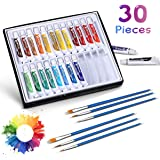 Acrylic Paint Set, NASUM 24 Color Tubes of 0.4 oz (12 ml) & 6 Painting brush, Art Set for Kids, Students, Beginners, Artists, Craft Supplies Painting Ceramic, Glass, Wood, Fabric, Canvas