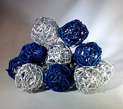Amazon Decorative Spheres Blue And Silver Rattan Vase Filler