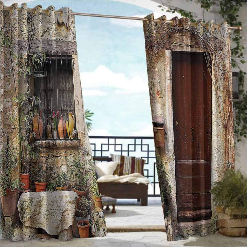 Andrea Sam Balcony Curtains Shutters Decor Collection,Flowerpot Plants in Front Yard French Hilltop Village Saint-Paul De Vence Heritage,W108 xL84 Outdoor Privacy Porch Curtains by Andrea Sam