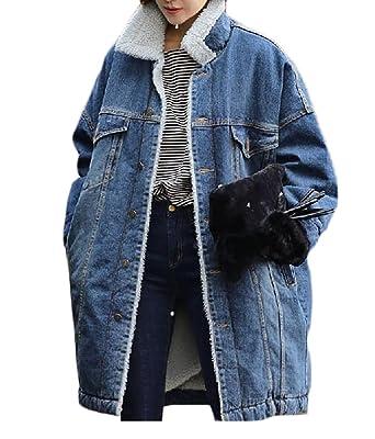 359c09c619e SELX Womens Thicken Lambs Wool Denim Jacket Loose Jean Coat Blue US XS