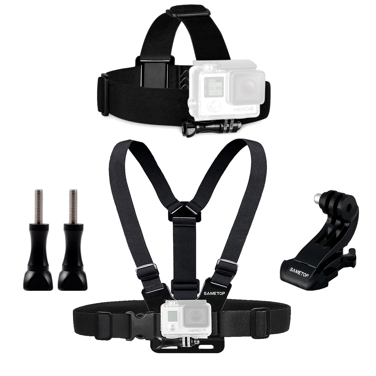 Sametop Replacement Chest Mount Harness Chesty Head Mount Strap Kit Compatible with GoPro Hero 6, 5, 4, Session, 3+, 3, 2, 1 Cameras