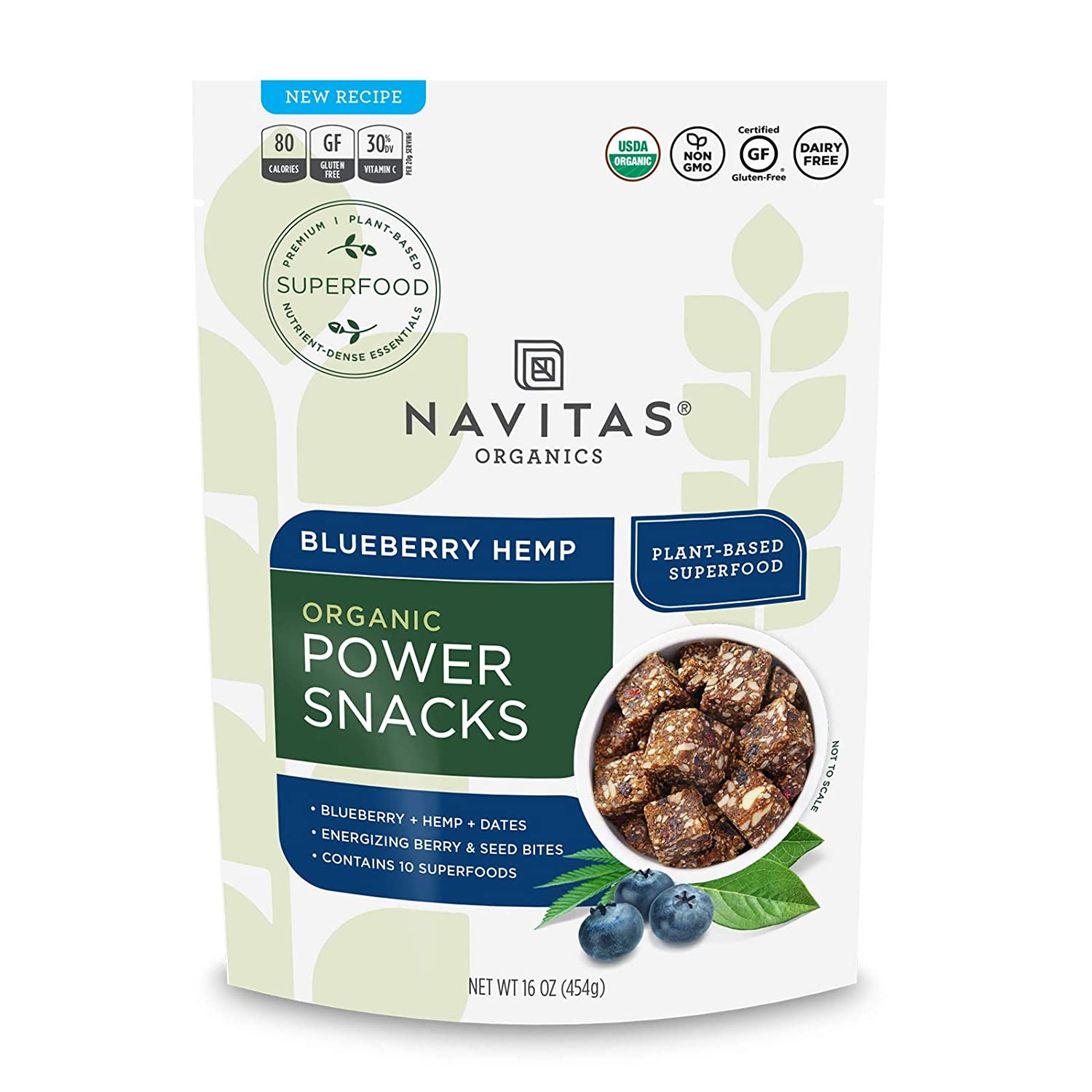 Navitas Organics Superfood Power Snacks, Blueberry Hemp, 16 oz. Bag, 23 Servings — Organic, Non-GMO, Gluten-Free (Pack of 1)