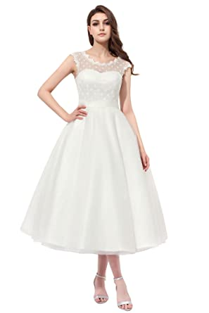Ivory Lace Tea Length Formal Dresses