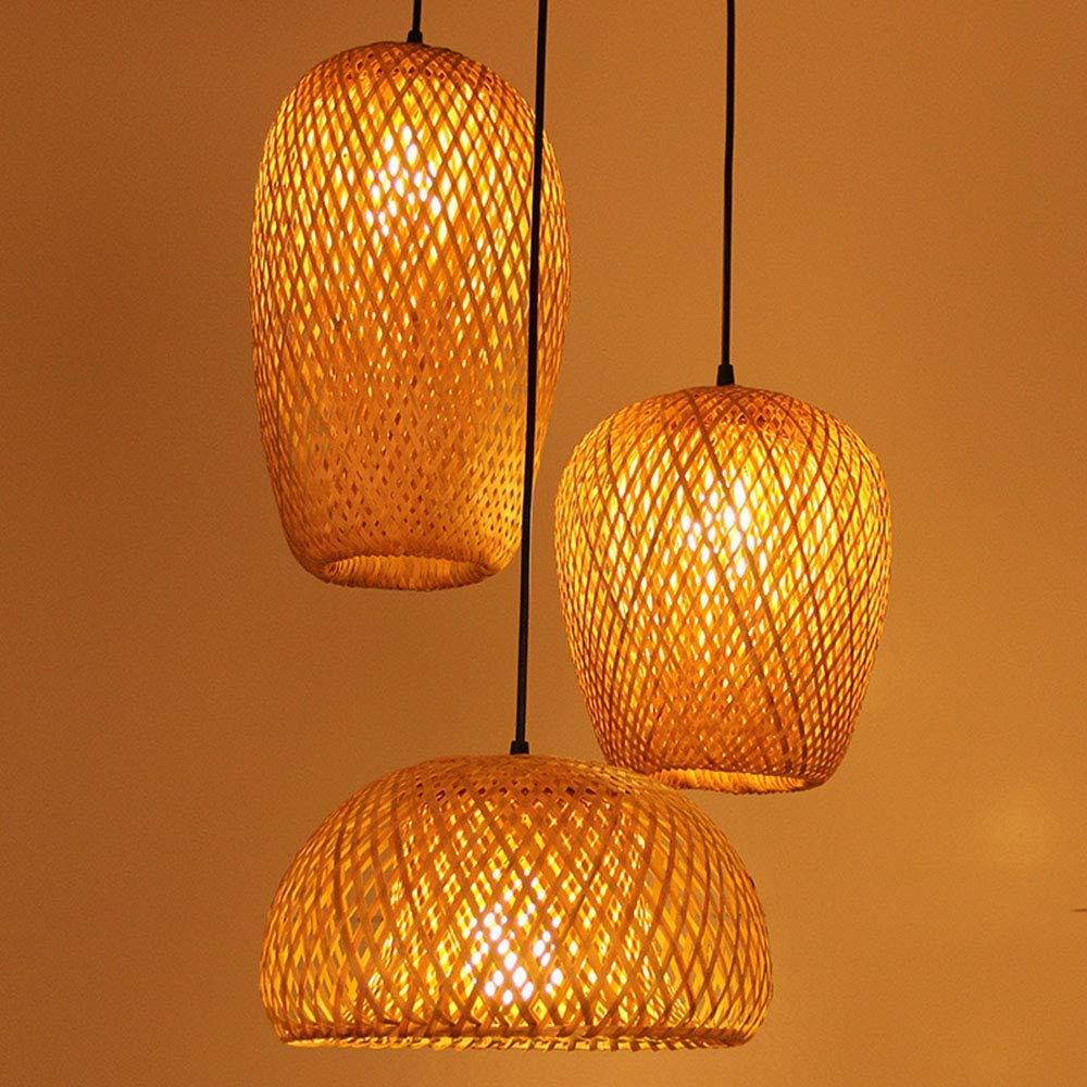 Gwjnb Retro Stil Laterne Pendel Lampe Bambus Lampenschirm