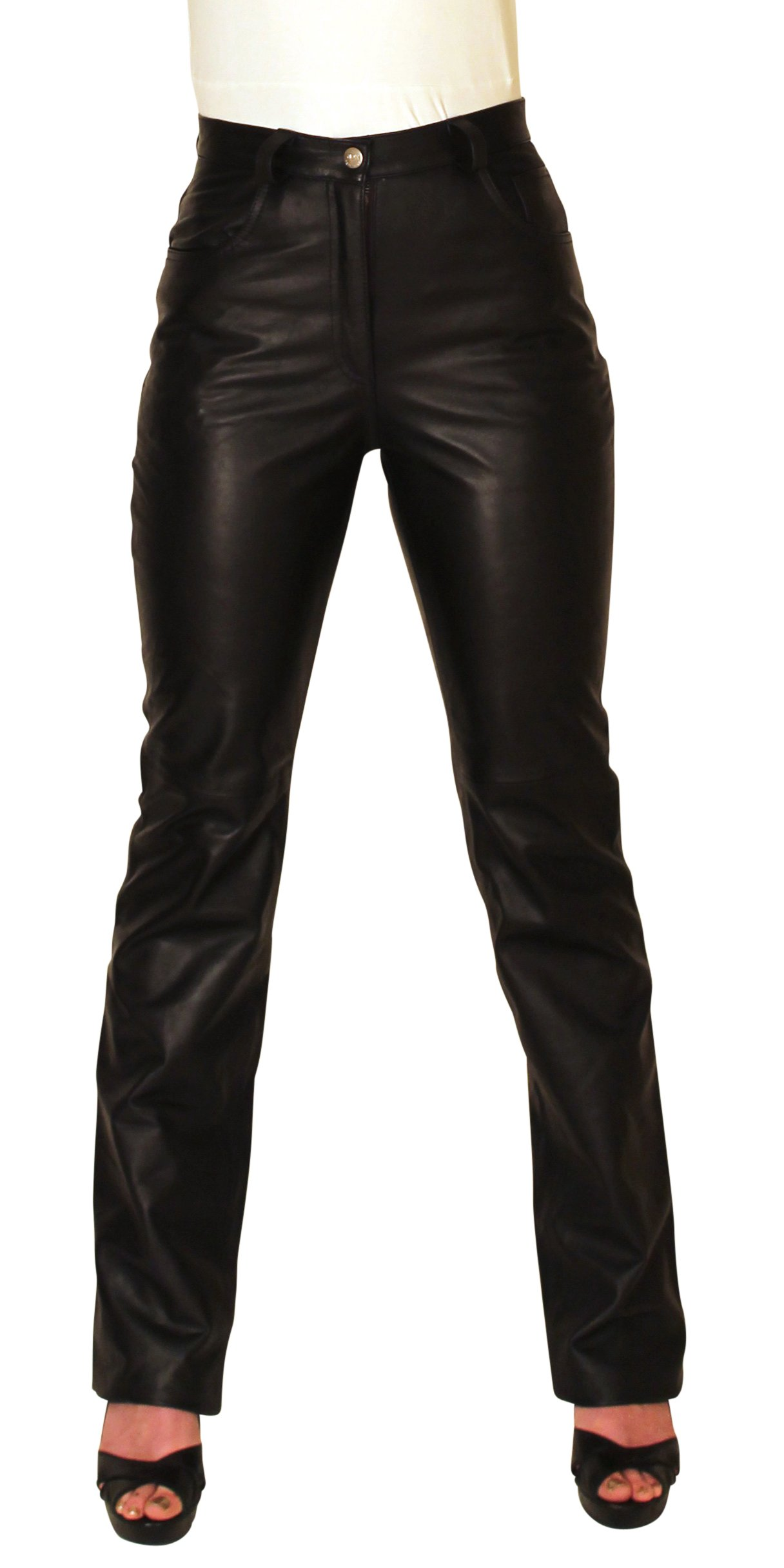 NDK New York Women's Lambskin Leather Pants Sexy Style Without Pockets