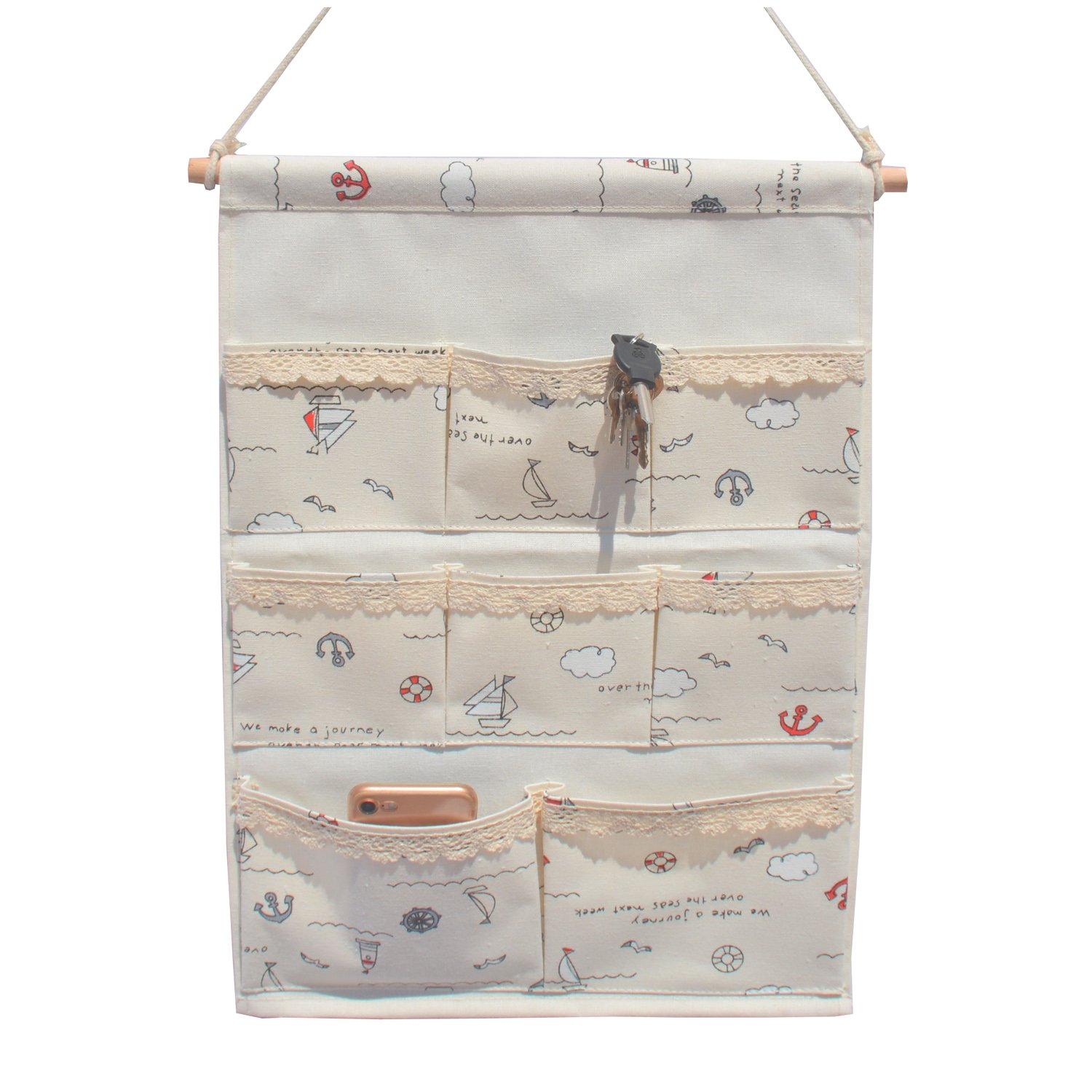 Cotton Fabric Rectangle Wall Door Closet Hanging Storage Bag Case 8 Small Pockets, Home Organizer to School Office Bedroom Kitchen for Clutch Purses, Handbags, (White-Sailboat 8 Pockets)