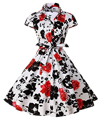 3e0905b30999e TENCON Women's 1950s Vintage Black and Red Floral Printed Casual Shirt Dress  with Cap