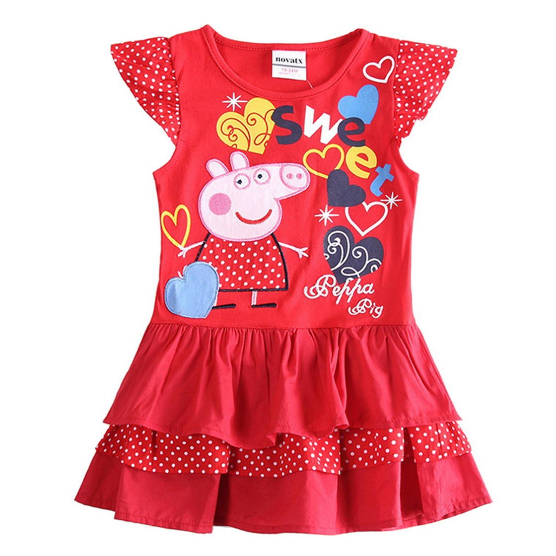 Peppa Pig Little Girls Cartoon Embroidered Stitching Pleated Cotton Dress Tiful