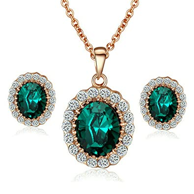 3f35ea9684b Yoursfs Austrian Crystal Jewellery Set for Women Oval Pendant Necklace &  Stud Earrings Sets Valentines Gift
