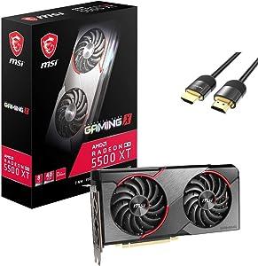 MSI Radeon RX 5500 XT Gaming X Graphics Card 8GB 128-Bit GDDR6 PCIe 4.0 DirectX 12 HDCP Ready Supremely Silent TORX Fan 3.0 1x HDMI 2.0b 3X DisplayPort 1.4 w/ Mytrix HDMI 2.1 Cable(4k@120Hz/8K@60Hz)