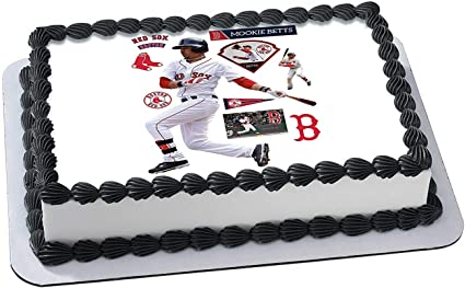 Groovy Amazon Com Mookie Betts Boston Red Sox Edible Image Cake Topper Birthday Cards Printable Nowaargucafe Filternl
