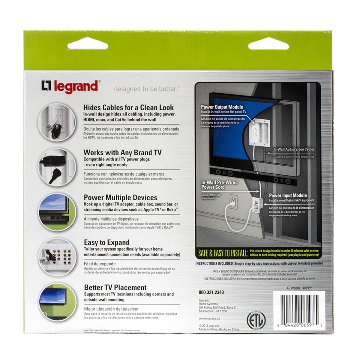 Legrand On Q 16314 Ht2202whv1 In Wall Tv Power Cable Le Grand Cat5e Jack Wiring Management Kit Hides Av Cables For Clean Clutter Free Installation Home