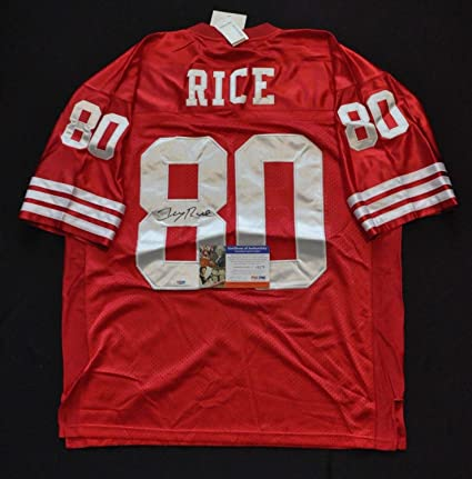 4bc956c1a4c Jerry Rice San Francisco 49ers M&N NFL Jersey Red Autographed Signed  Memorabilia PSA/DNA at Amazon's Sports Collectibles Store