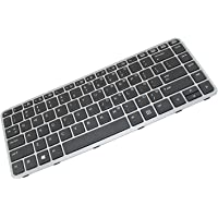 KENAN New Laptop Replacement Backlit Keyboard for HP EliteBook Folio 1040 G1 1040 G2 with PN 90.4LU07.C01 MP-13A13USJ442 739563-001, US Layout Black Color with Grey Frame