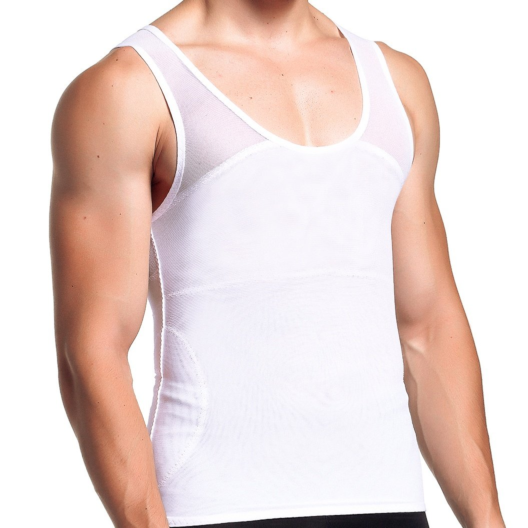 GKVK Mens Compression Shirt to Hide Gynecomastia Moobs Chest Slimming Tank Top Body Shaper Undershirt, white, Medium