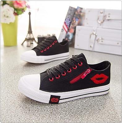 Zapatillas Para Mujer 2018 Con Cremallera Labios Rojos Tenis Femenino Zapatos De Verano Casual Color Blanco Zapatos De Lona Para Mujer Color Negro Shoes