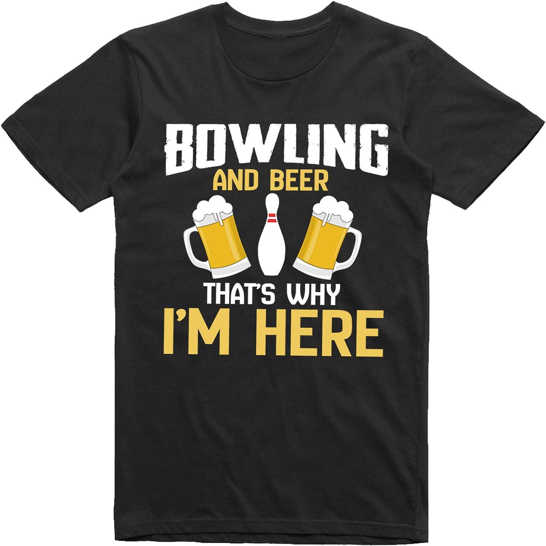 Bowling and Beer Thats Why Im Here Camiseta Divertida y Elegante para Hombre: Amazon.es: Ropa y accesorios