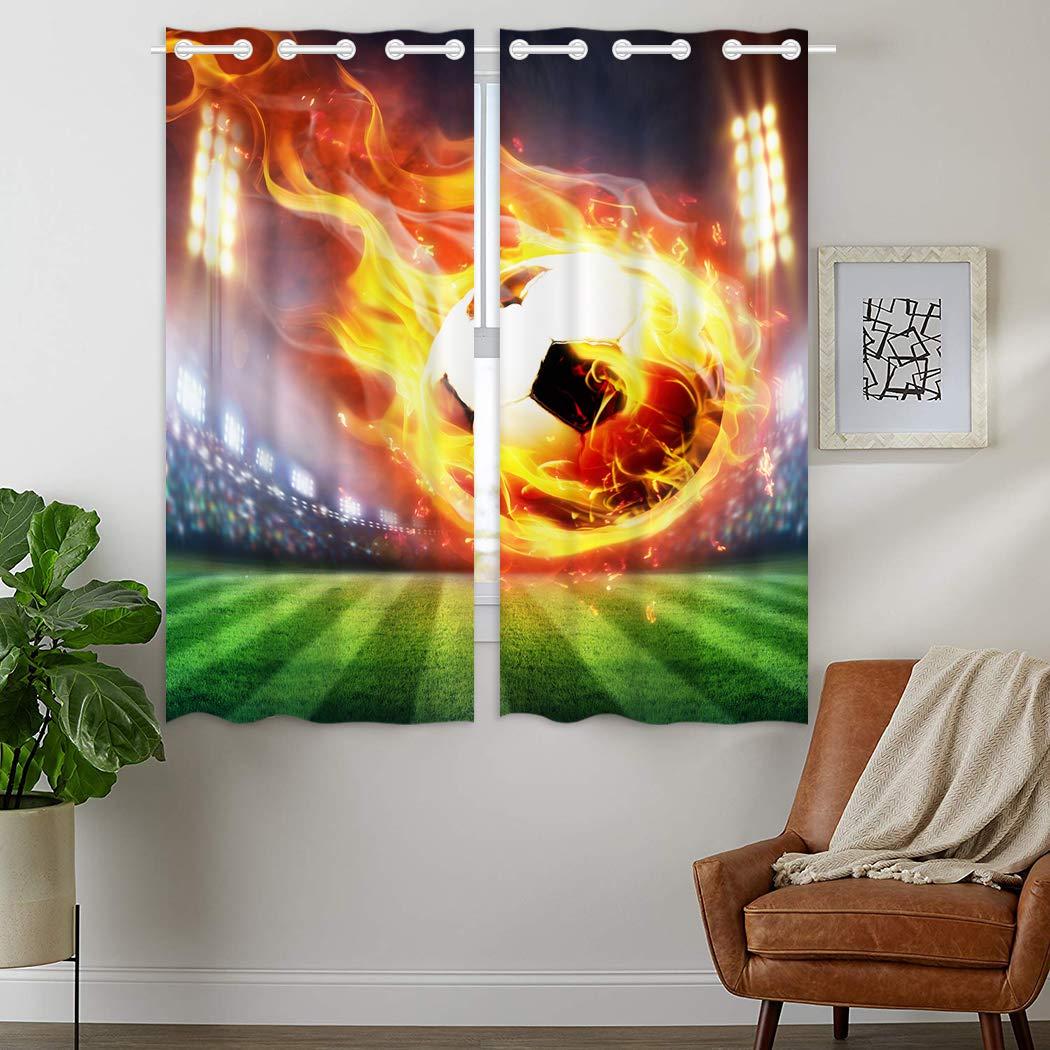 YISUMEI - Gardinen Blickdichter - Stadion Flamme Fußball,180 x 140 cm 2er Set Vorhang Verdunkelung mit Ösen für Schlafzimmer Wohnzimmer