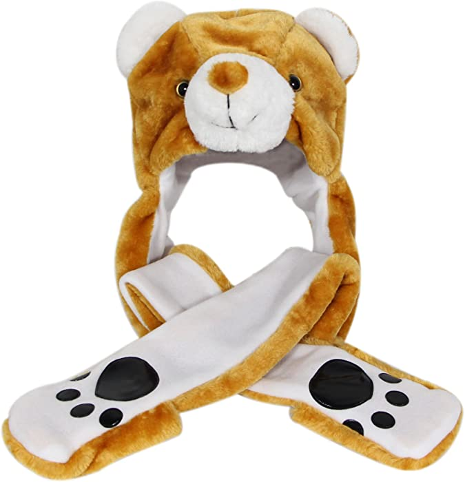d71dd041f57 ... Bioterti Plush Novelty Animal Hat 3 in 1 Beanie with Long Paw Scarf