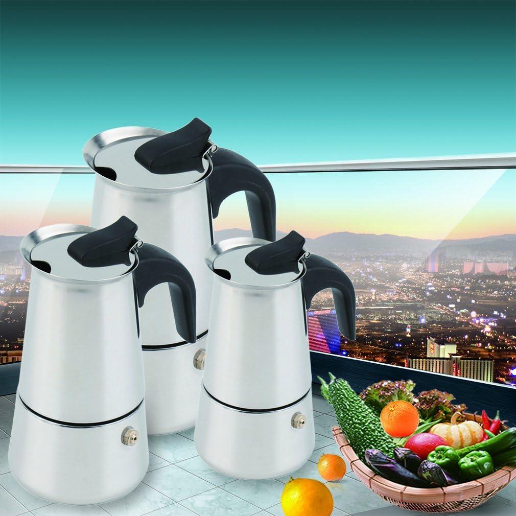 Justdolife Caf/é Pot Acier Inoxydable Cafeti/ère Percolateur Cafeti/ère Moka Expresso Boisson Pot