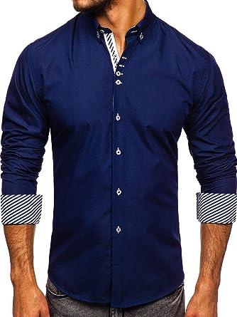 BOLF Hombre Camisa De Manga Larga Cuello Americano Camisa Elegante Camisa de Algodón Slim fit Estilo Casual Mix 2B2: Amazon.es: Ropa y accesorios