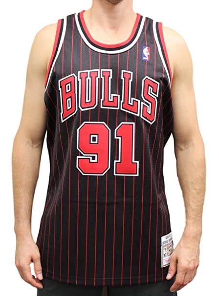 Mitchell   Ness Dennis Rodman Chicago Bulls Authentic Throwback Jersey -  Black ... 0a54f03a2a75