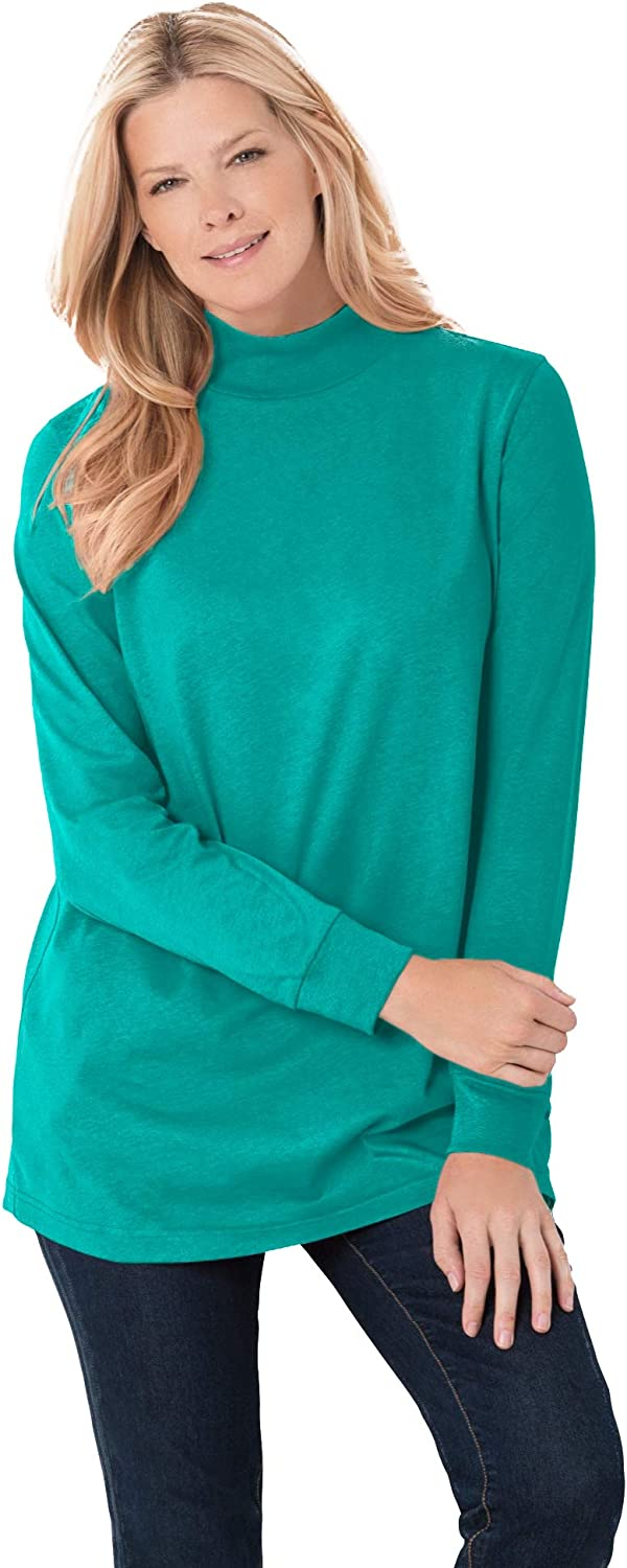 Woman Within Women's Plus Size Perfect Long-Sleeve Mock-Neck Tee