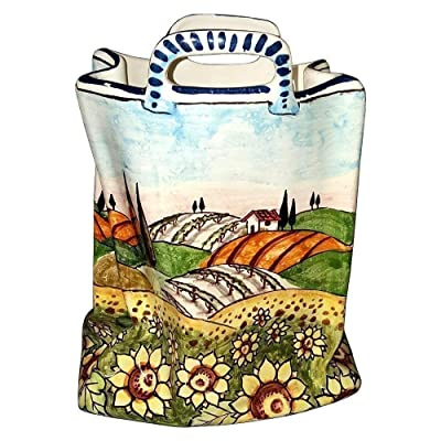CERAMICHE D'ARTE PARRINI - Italian Ceramic Art Pottery Bag Planter Flowerpot Hand Painted Decorated Sunflowers Landscape Made in ITALY Tuscan