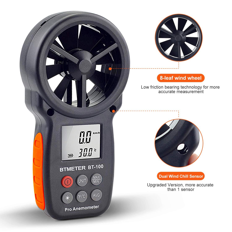 Amazon.com : Digital Anemometer Handheld - BTMETER BT-100 Wind Speed Meter Gauge, Accurately Measure Wind Temperature Speed CFM with MAX/MIN/AVG, ...