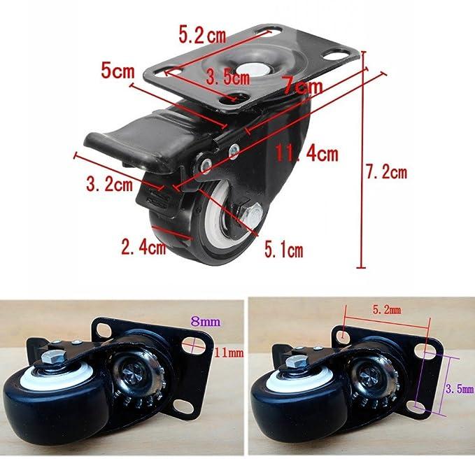 JZK Ruedas giratorias 180kg caucho con placa y rodamiento, 2 con freno + 2 sin freno para muebles silla mesa carro carro