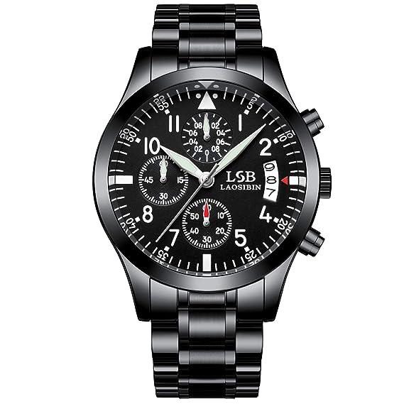 31a47b8c3 LSBLAOSIBIN Reloj negro para hombre correa de metal de cuarzo correa de metal  cristales de zafiro