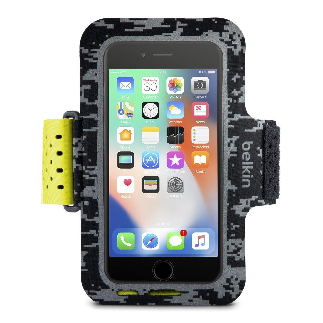 iPhone7 iPhone 6//6s Belkin Sport-Fit Fitness-Armband f/ür iPhone/8 schwarz Smartphone frei zug/änglich, geeignet f/ür H/üllen, verstellbare Gr/ö/ße
