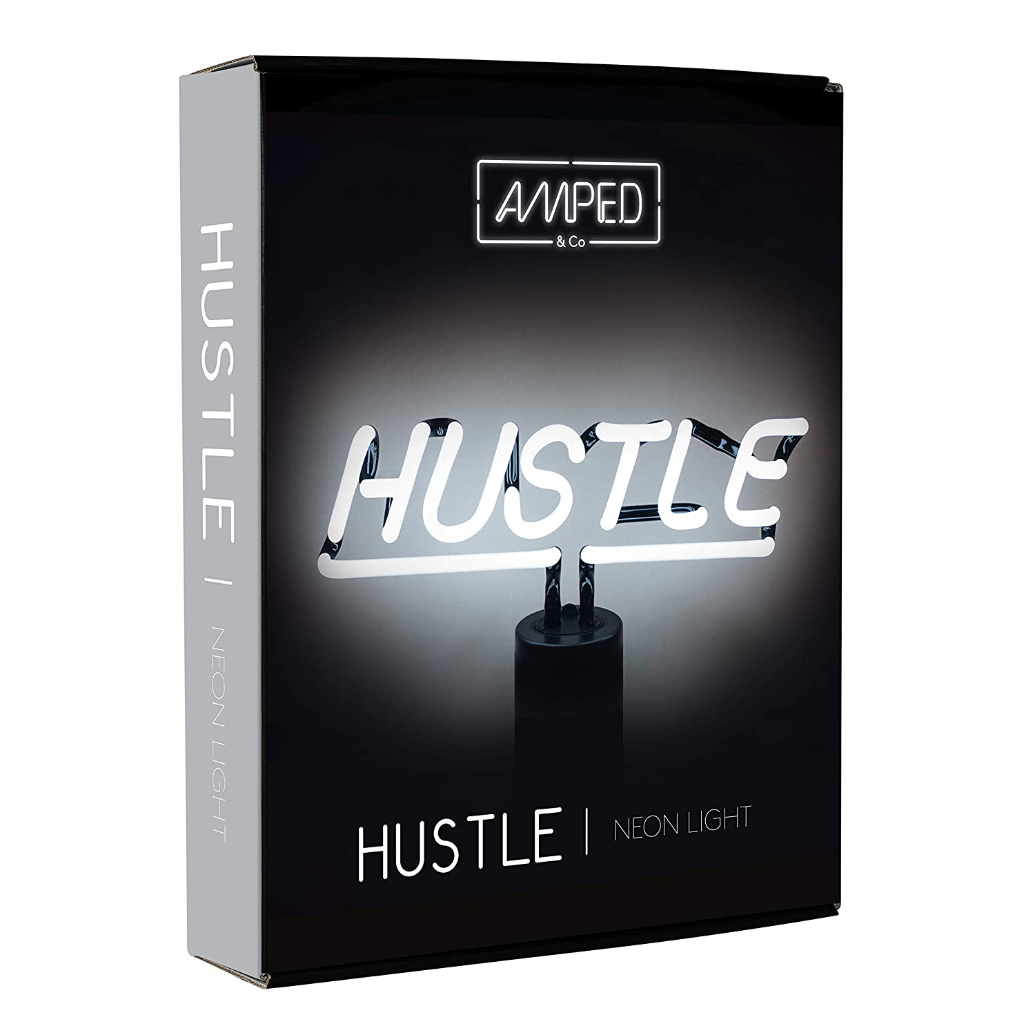 31ade0bf4e4eb Amazon.com: Amped & Co - Hustle Neon Sign, Desk Light with DC Adapter,  White Real Neon, 12x8: Home & Kitchen