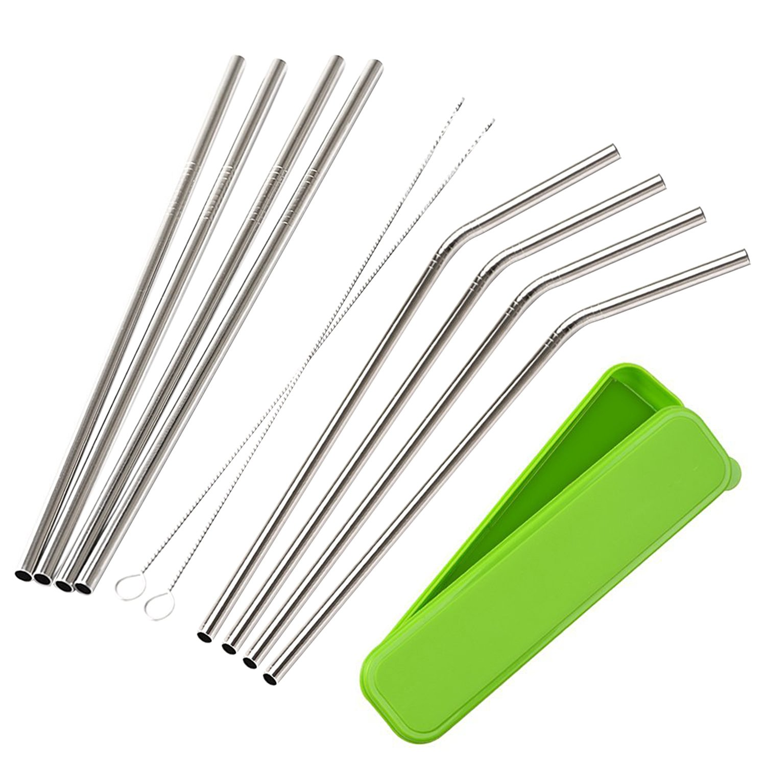 Mudder 8 Pack Stainless Steel Drinking Straws with Cleaning Brushes and Portable Storage Box COMINHKPR105612