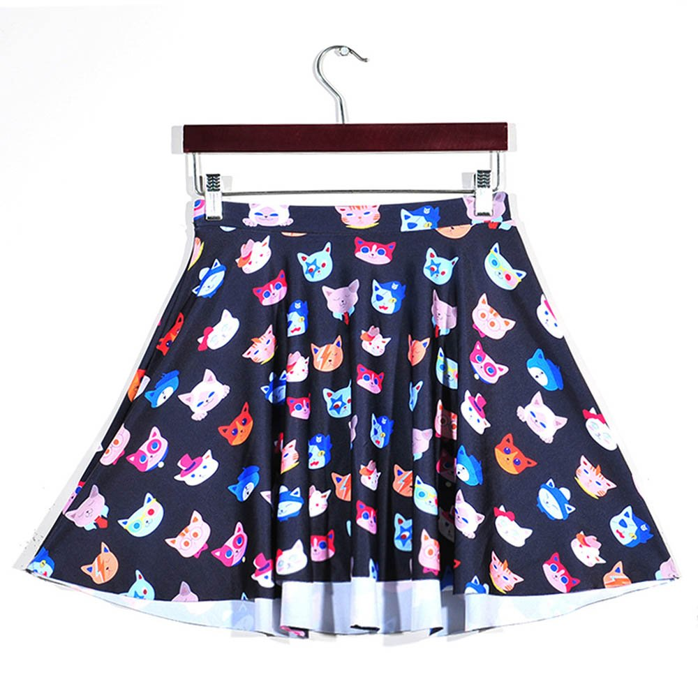 b389d19751 Amazon.com: YoungG-3D Women's 3D Colorful Cat Head Pleated Skirt Creative  High Waisted Pleated A Line Skirts: Clothing
