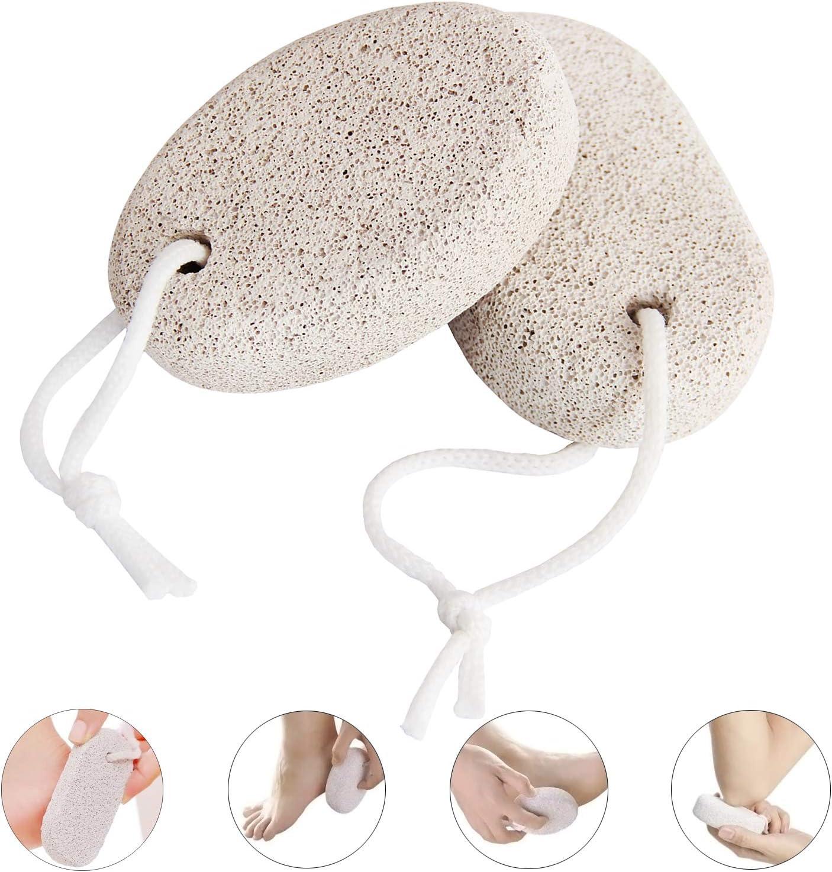 Pinowu Piedra pómez natural para pies (2pcs), Herramientas de pedicura de lava Piel dura Removedor de callos para pies y manos Exfoliante Natural Exfoliación de archivo de pie quitar la piel muerta