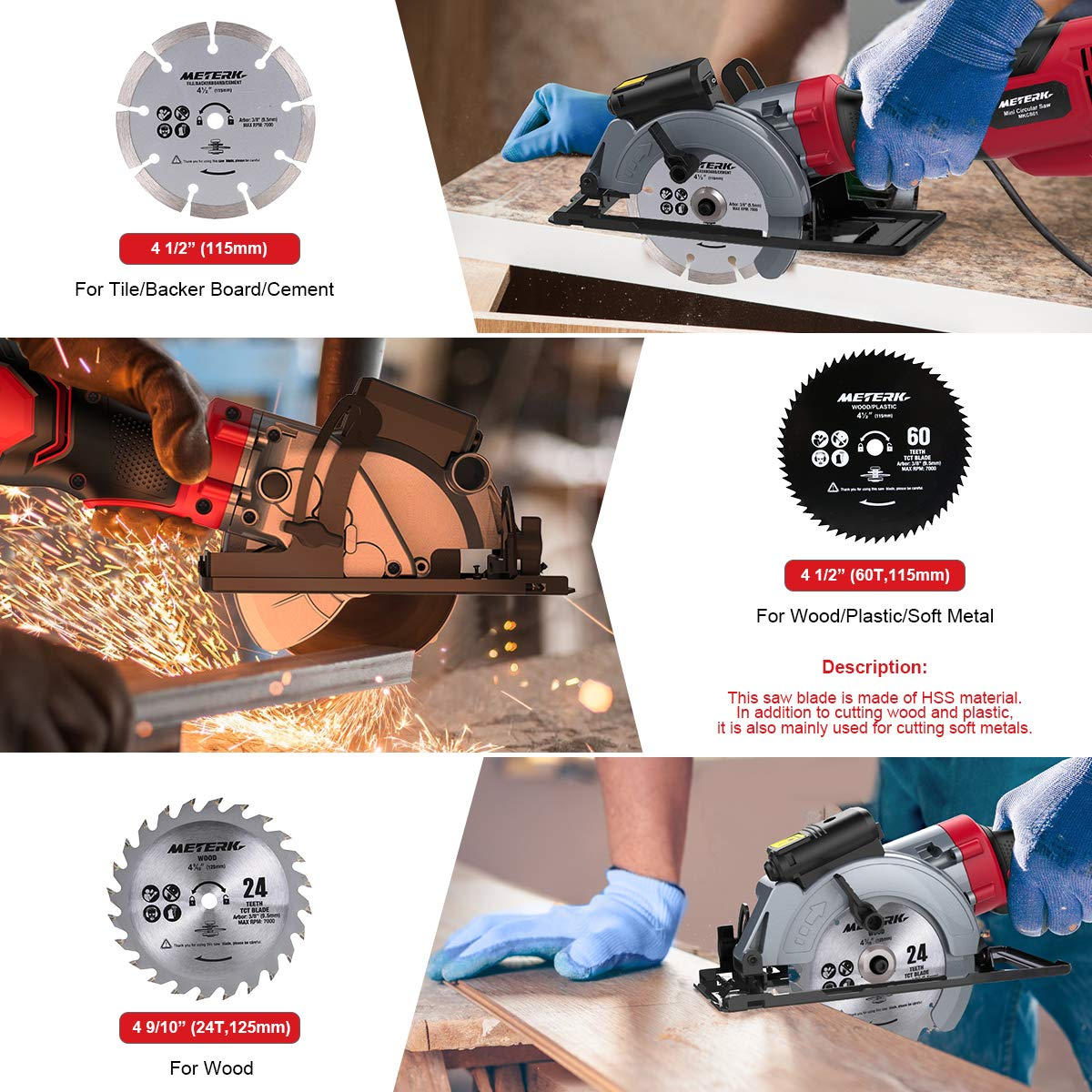 Circular Saw, Meterk 6.2A Compact Electric Circular Saw with Laser Guide, 6 Blades, Max Cutting Depth 1-9 10 90 , 1-1 4 0 -45 , Ideal for Wood, Soft Metal, Tile, and Plastic Cuts