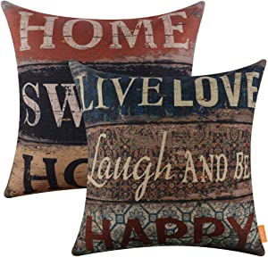 LINKWELL Pack of 2, Square Throw Pillow Covers Set Decorative Cushion Case for Sofa Bedroom Car Couch 18x18 Inch - Vintage Home Sweet Home Words CC1229-1289