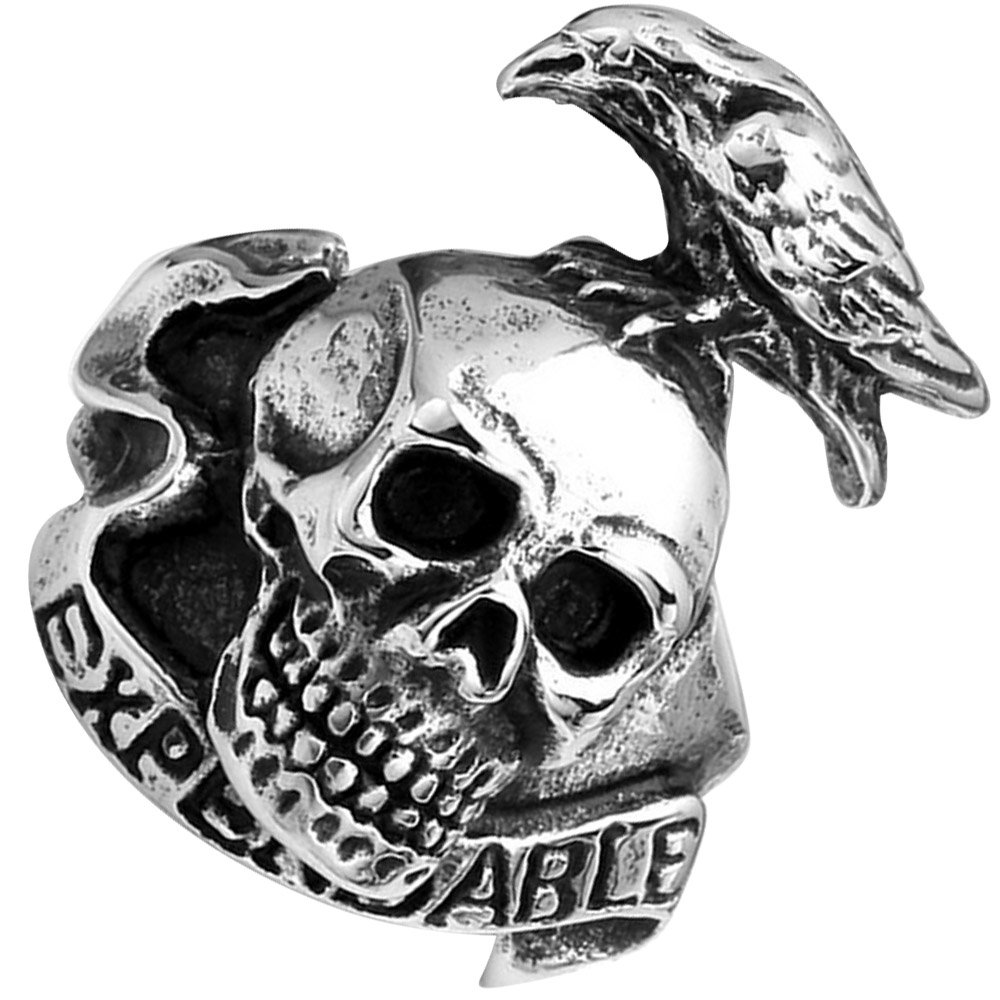 XAHH Men's Fashion Vintage Gothic Tribal Biker Crow Skull Stainless Steel Large Ring Band Silver Black 12 by XAHH (Image #3)