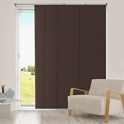 Chicology Adjustable Sliding Panels, Cut To Length Vertical Blinds,  Mountain Chocolate (Thermal)