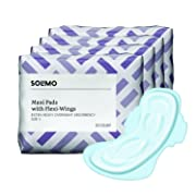 Amazon Brand - Solimo Maxi Pads with Flexi-Wings, Extra Heavy Overnight Absorbency, Unscented, Size 5, 80 Count