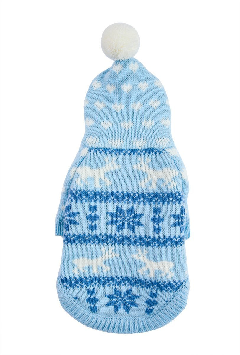 Light bluee L Light bluee L PETCEE Knit Pet Sweater Dog Festival Hooded Sweater Back Lenght 14 (Light bluee,L)