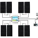 ECO-WORTHY 1200W Grid Tie Monocrystalline Solar Panel Kit: 1200W 24V-110V MPPT Function Waterproof Grid-Tie Micro Power Inverter + 8pcs 160W Monocrystalline Solar Panels