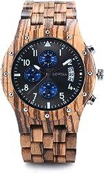 Bewell W109D Sub-dials Wooden Watch Quartz Analog Movement Date Wristwatch for
